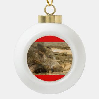 wild boar on ceramic ball ornament