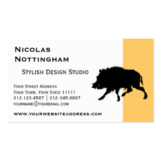 Wild Boar or Wild Pig Elegant Silhouette Business Card Templates