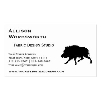 Wild Boar or Wild Pig Elegant Silhouette Business Card Template