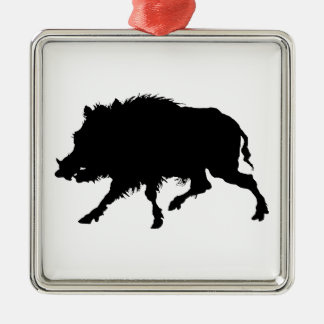 Wild Boar or Wild Pig Elegant Silhouette Christmas Ornament