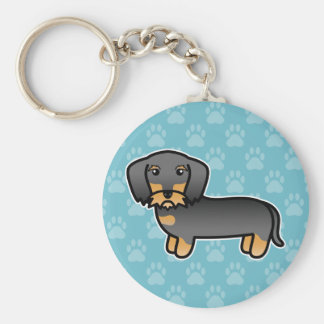 Wild Boar Wirehaired Dachshund Cartoon Dog Key Ring