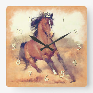 Wild Brown Mustang Horse Watercolor Painting Square Wall Clock