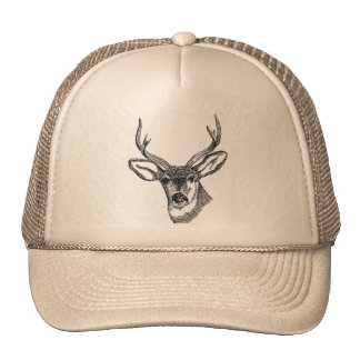 Wild Buck Deer Drawing Cap