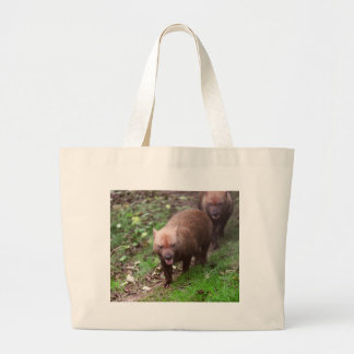 Wild Bush dogs walking Large Tote Bag