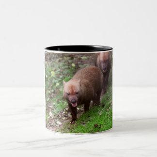 Wild Bush dogs walking Two-Tone Coffee Mug