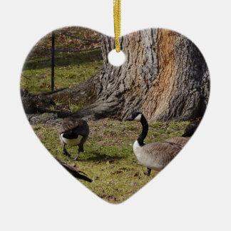 Wild Canada Geese Ceramic Heart Decoration