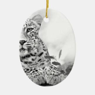 Wild cat ceramic oval decoration