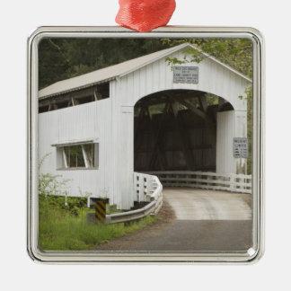Wild Cat covered bridge, Lane County, Oregon Silver-Colored Square Decoration