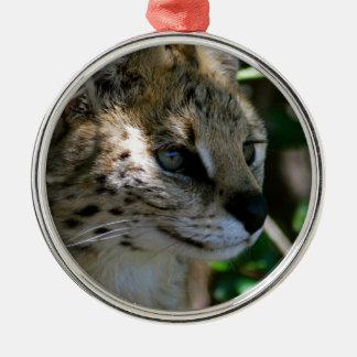 Wild cat head Silver-Colored round decoration