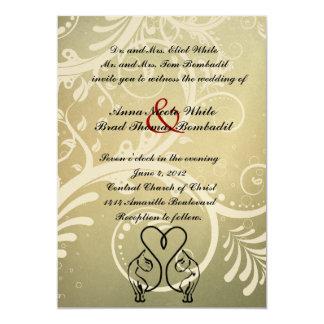 Wild Cat Lovers Olive, Black, Gold Wedding 13 Cm X 18 Cm Invitation Card