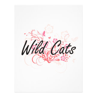 Wild Cats with flowers background 21.5 Cm X 28 Cm Flyer
