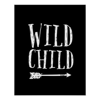 Wild Child  kids print black and white decor