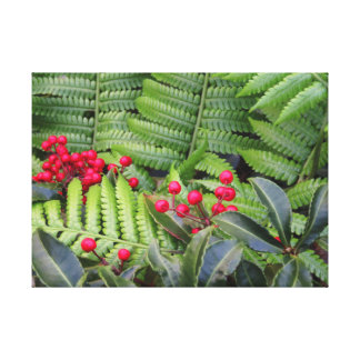Wild Christmas Berries & Ferns Canvas Print