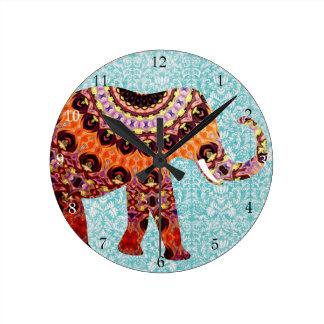 Wild Colorful Boho Elephant Pattern Round Clock
