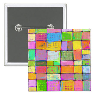 Wild colorful fun modern abstract painting quilt 15 cm square badge