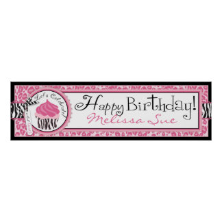 Wild Cupcake CP Birthday Banner Poster