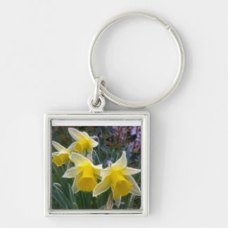 Wild Daffodils Silver-Colored Square Key Ring