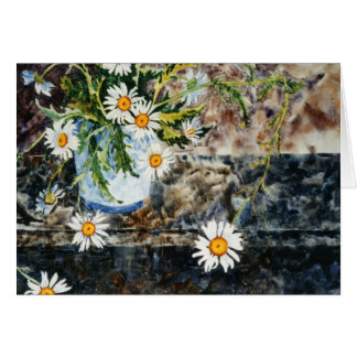 """Wild Dasies on a Shelf"" Floral Greeting Card"