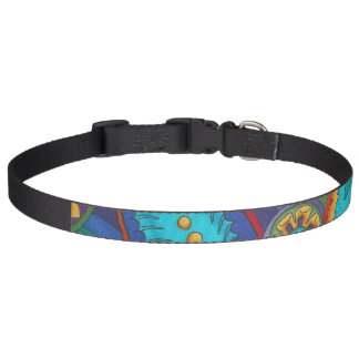Wild Design Collar Teal Pink Yellow Pet Collar