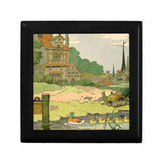 Wild Duck and Ducklings Swimming on the River Small Square Gift Box