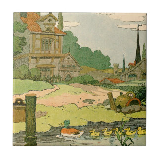 Wild Duck and Ducklings Swimming on the River Tiles