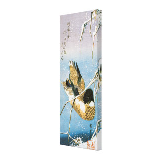 Wild Duck Swimming Snow Laden Reeds by Hiroshige Gallery Wrapped Canvas