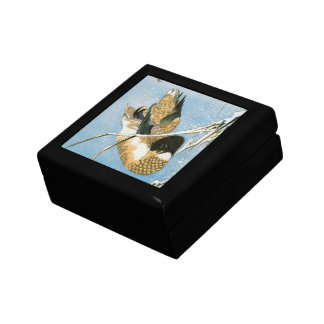 Wild Duck Swimming Snow Laden Reeds by Hiroshige Gift Boxes