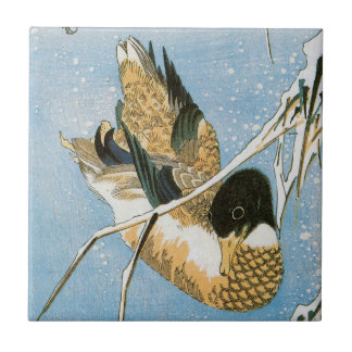 Wild Duck Swimming Snow Laden Reeds by Hiroshige Small Square Tile