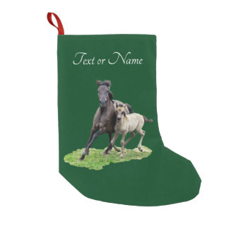 Wild Dulmen Horse Mare Cute Foal at Gallop - Name Small Christmas Stocking