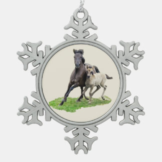 Wild Dulmen Horse Mare with Cute Foal Gallop Photo Snowflake Pewter Christmas Ornament