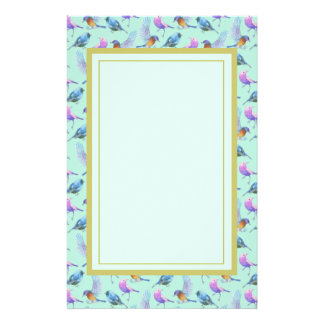 Wild Exotic Birds Colorful Watercolor Pattern Customised Stationery
