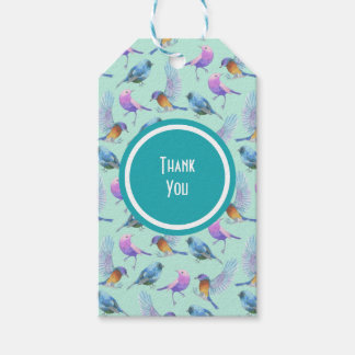 Wild Exotic Birds Watercolor Pattern Thank You