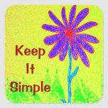 Wild Flower Keep It Simple Square Stickers