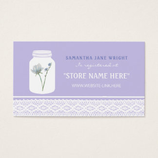 Wild Flower Mason Jar and Lace Gift Registry Business Card