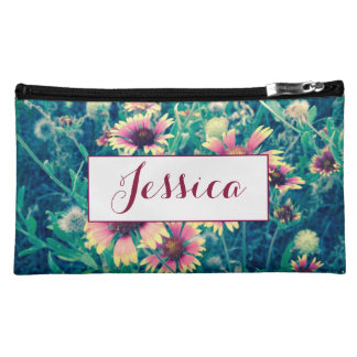 Wild Flower Personalized Monogram Makeup Bag