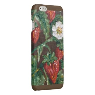 Wild flower strawberry plant oil painting design iPhone 6 plus case