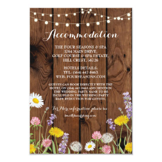 Wild Flowers Accommodation Wedding Floral Wood Card