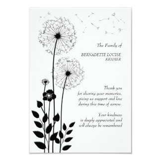Wild Flowers Bereavement Thank You Card 9 Cm X 13 Cm Invitation Card