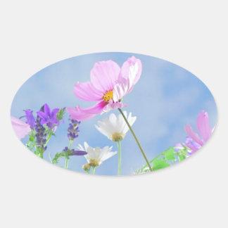 Wild Flowers Blue Sky Oval Sticker