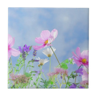 Wild Flowers Blue Sky Small Square Tile