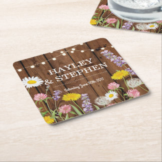 Wild Flowers Coasters Wood Lights Wedding Party
