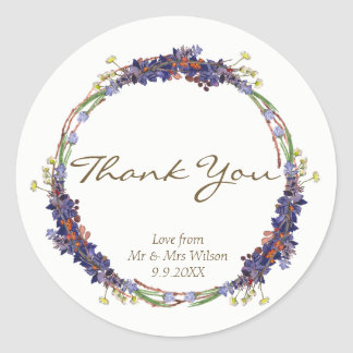 wild flowers daisy wreath thank you stickers