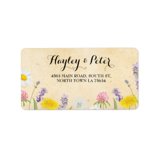 Wild Flowers Elegant Floral Address Label Stickers