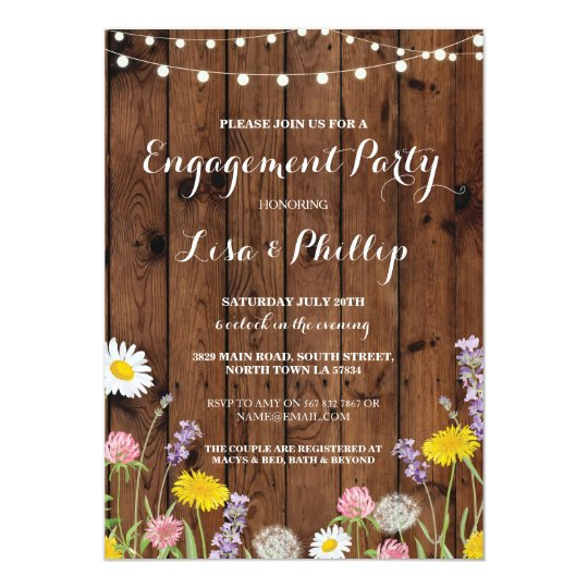 Wild Flowers Engagement Party Wood Shower Invite