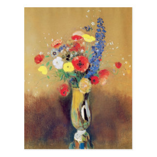 Wild flowers in a Long-necked Vase, c.1912 Postcard
