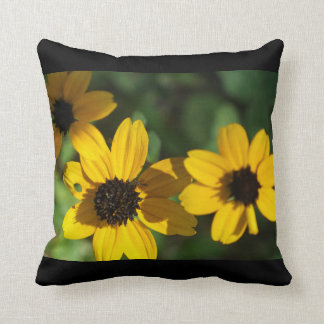 Wild Flowers in Yellow on Black Throw Pillow Cushions