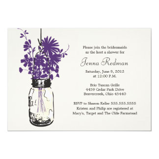 Wild flowers & Mason Jar Bridal Shower Card