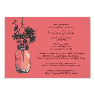Wild flowers & Mason Jar Bridal Shower Card