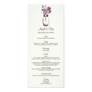 Wild flowers & Mason Jar Menu Card 10 Cm X 24 Cm Invitation Card