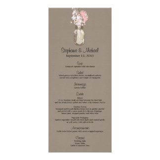 Wild flowers & Mason Jar Menu Card